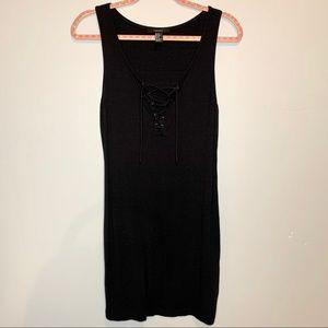 Forever 21 V-neck Strappy Mini Black Dress